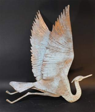 Cast Metal Heron Wall Sculpture