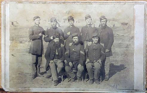 TWO CIVIL WAR PHOTOS: OUTDOOR GROUP & ARMED NJ SOLDIERS