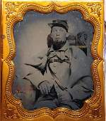 Civil War Ambrotype Greatcoat and Knapsack 1st Conn.?
