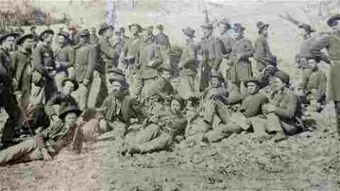 Two Outdoor Civil War Camp Photos 175th Ohio, Pemberton