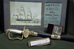 US Navy Mexican War Inscribed Sword and Related Items