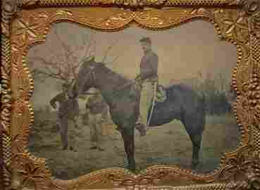 1/4 Pl. Tintype Civil War Cavalrymen and Horse