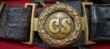 Confederate 2-Pc CS Buckle on Original Officers Belt