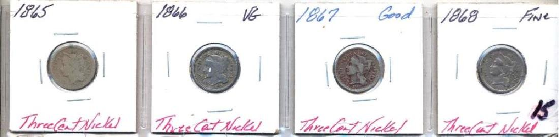 4 Three Cent Nickels 1865, 1866, 1867, 1868