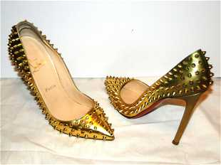25d180ced827 Christian Louboutin Gold Spiked Heels Shoes Size 9