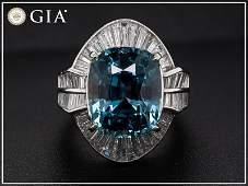 18.61tcw - Sapphire & Diamonds - Platinum Ring