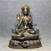 Exquisite Tibetan bronze gilt Buddha statue