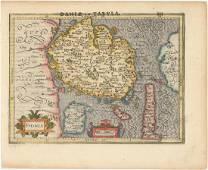 MAP - Fyn, Denmark. Mercator/Hondius