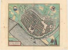 MAP - Deventer, Netherlands. Braun & Hogenberg