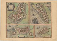 MAP - Friesland, Netherlands. Braun & Hogenberg