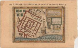 MAP - Brittenburg, Netherlands. Hondius/Bertius