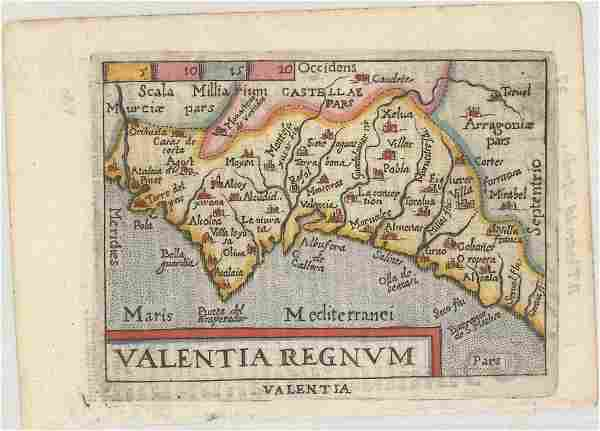 MAP - Eastern Spain. Ortelius/Marchetti