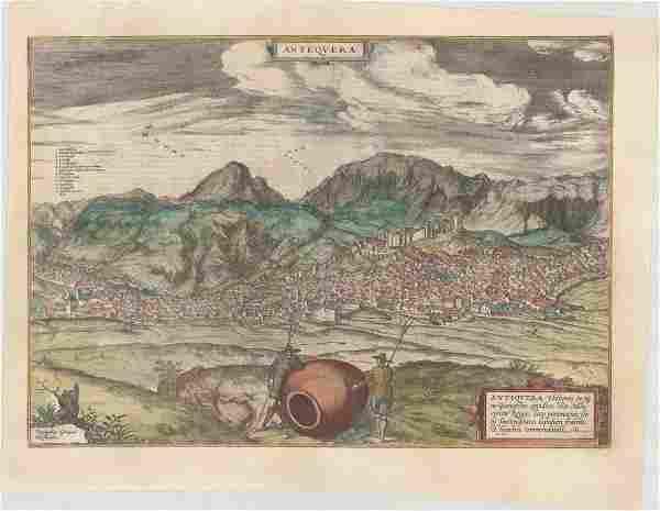 MAP - Antequera, Spain. Braun & Hogenberg