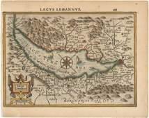 MAP - Lake Geneva, Switzerland. Mercator/Hondius