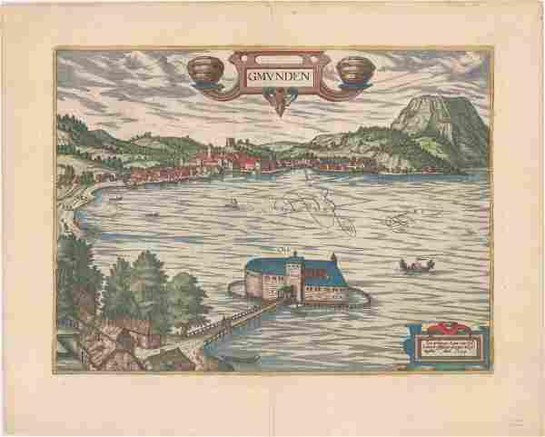 MAP - Gmunden, Austria. Braun & Hogenberg