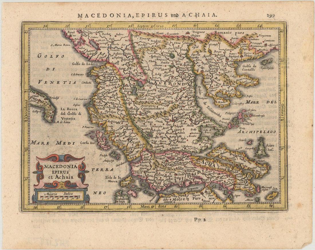 MAP - Greece & Albania. Mercator/Jansson