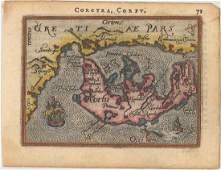 MAP - Corfu, Greece. Ortelius/Galle