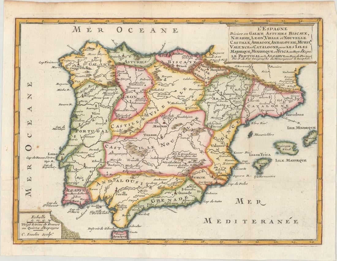 MAP - Spain & Portugal. De Fer