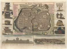 MAP - Jerusalem, Holy Land. Danckerts
