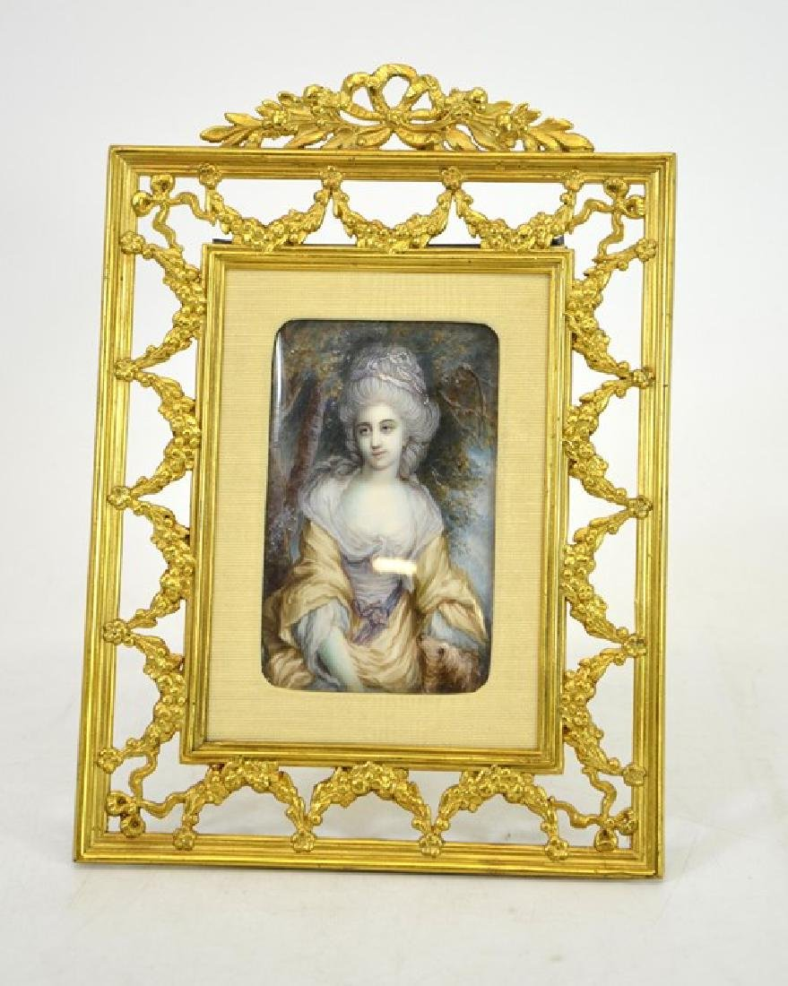 A 19th century French portrait miniature, depicting a - 2