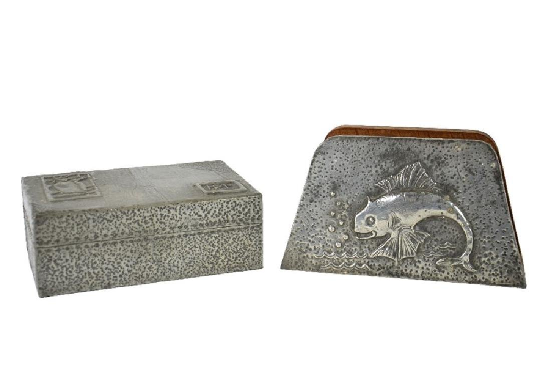 Arts and Crafts repousse pewter desk set, cigar box