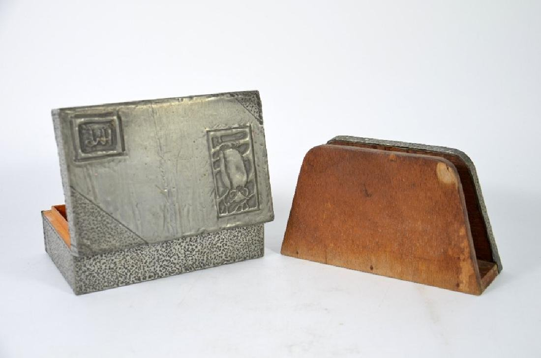 Arts and Crafts repousse pewter desk set, cigar box - 2