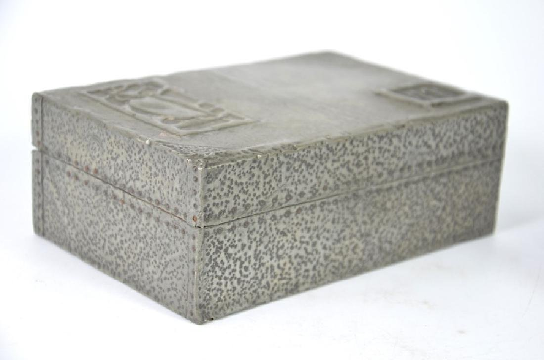 Arts and Crafts repousse pewter desk set, cigar box - 5