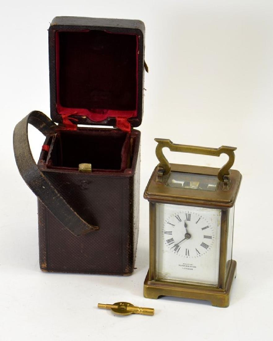 A Mappin and Webb gilt brass carriage timepiece, in