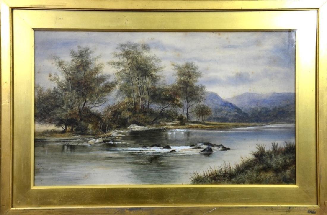 Victorian School, River and Mountain Scene, - 2