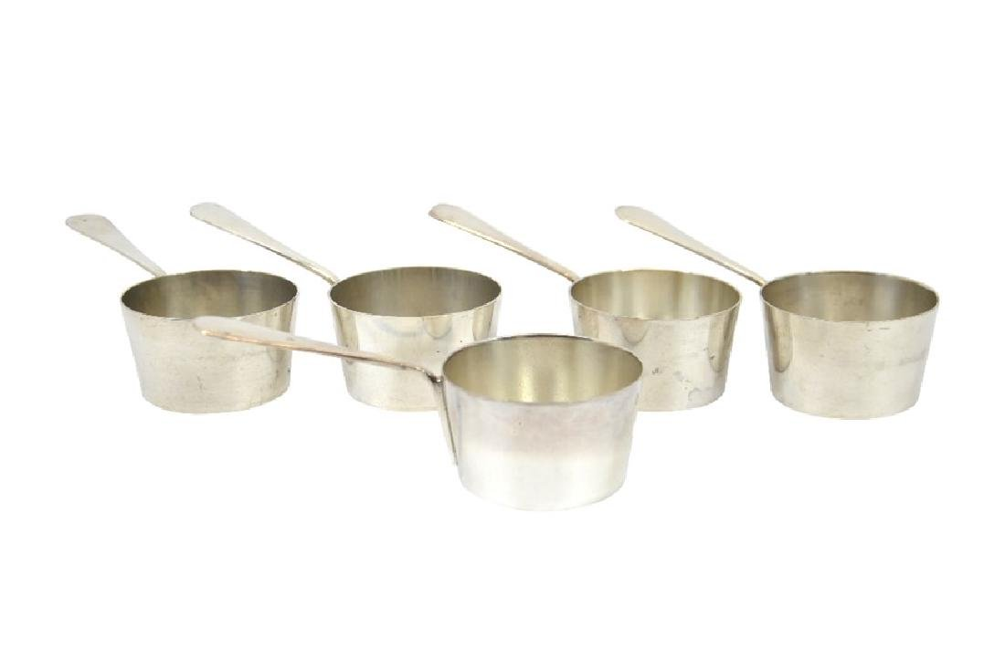 A set of five silver plated miniature sauce pans or