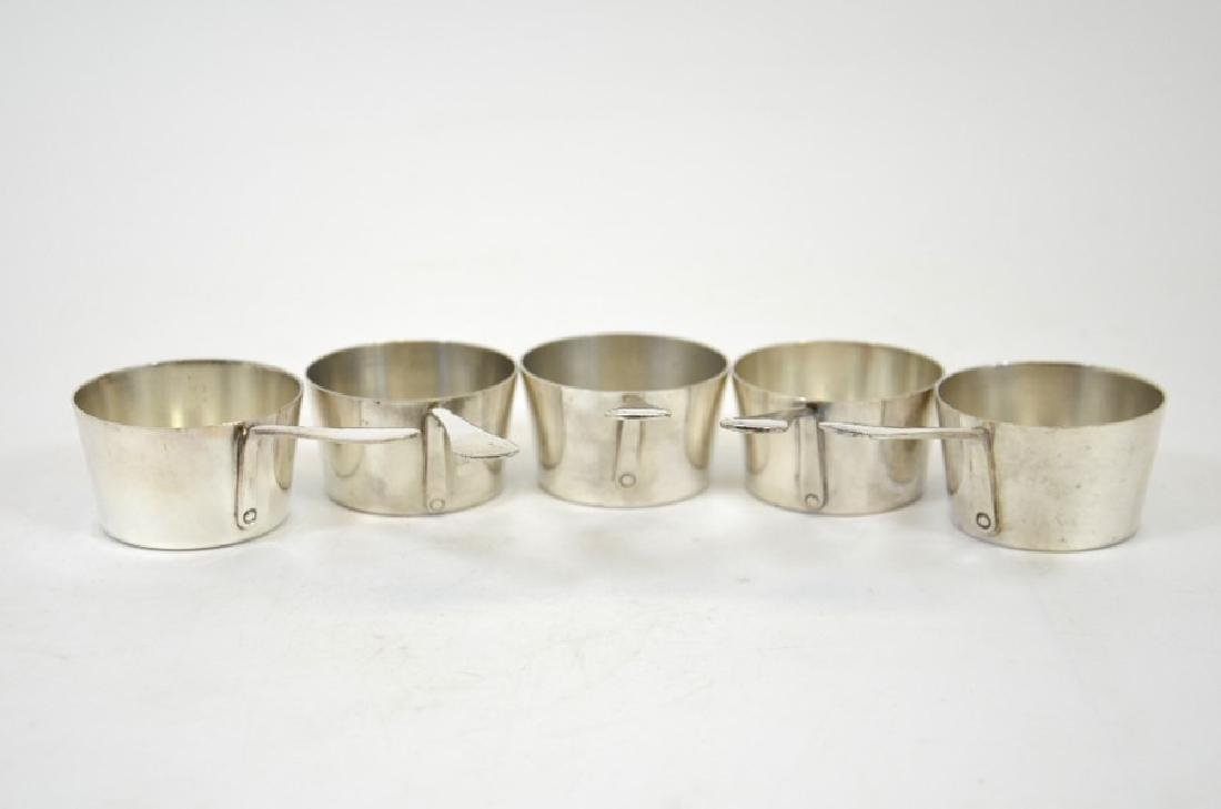 A set of five silver plated miniature sauce pans or - 3