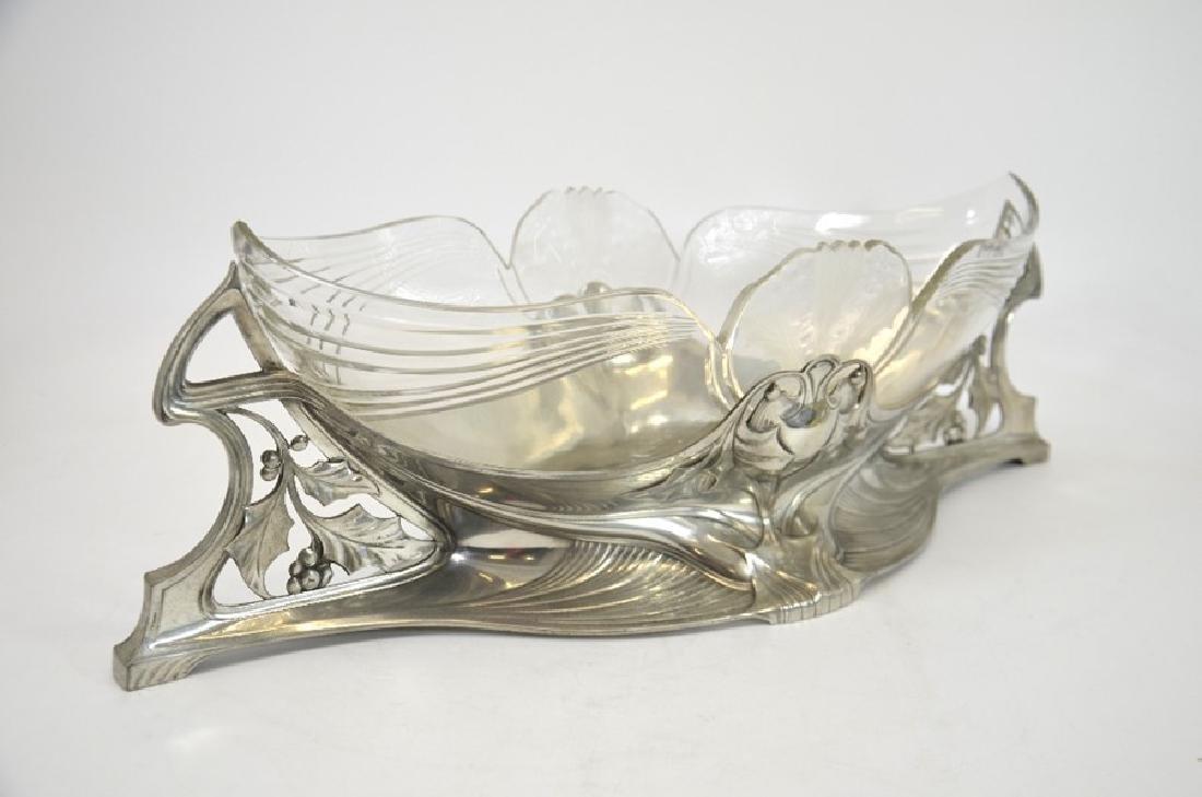 WMF, a large Jugendstil silver plated and glass - 2