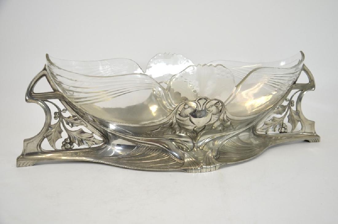 WMF, a large Jugendstil silver plated and glass - 3