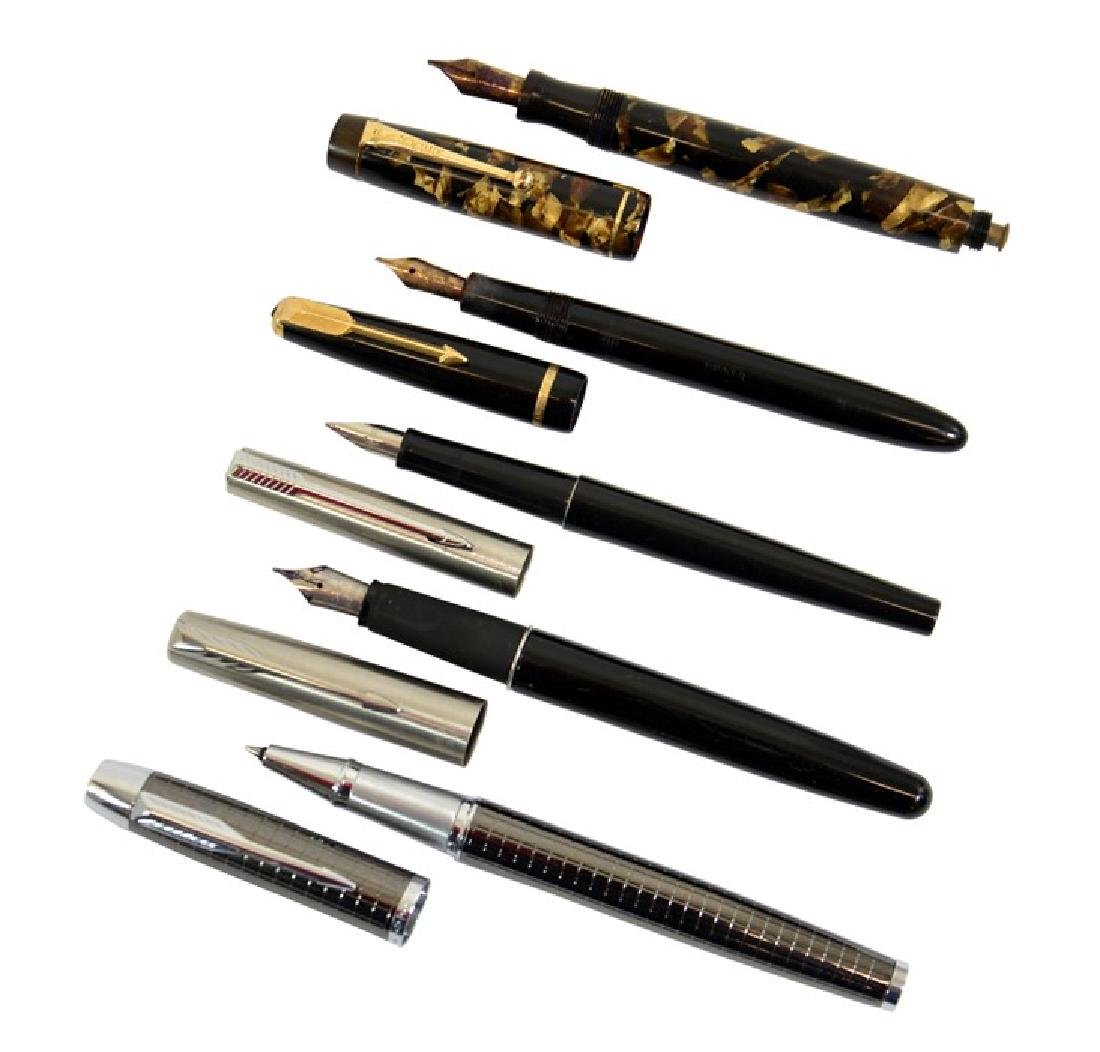 Parker pens including Victory fountain pen, brown pearl