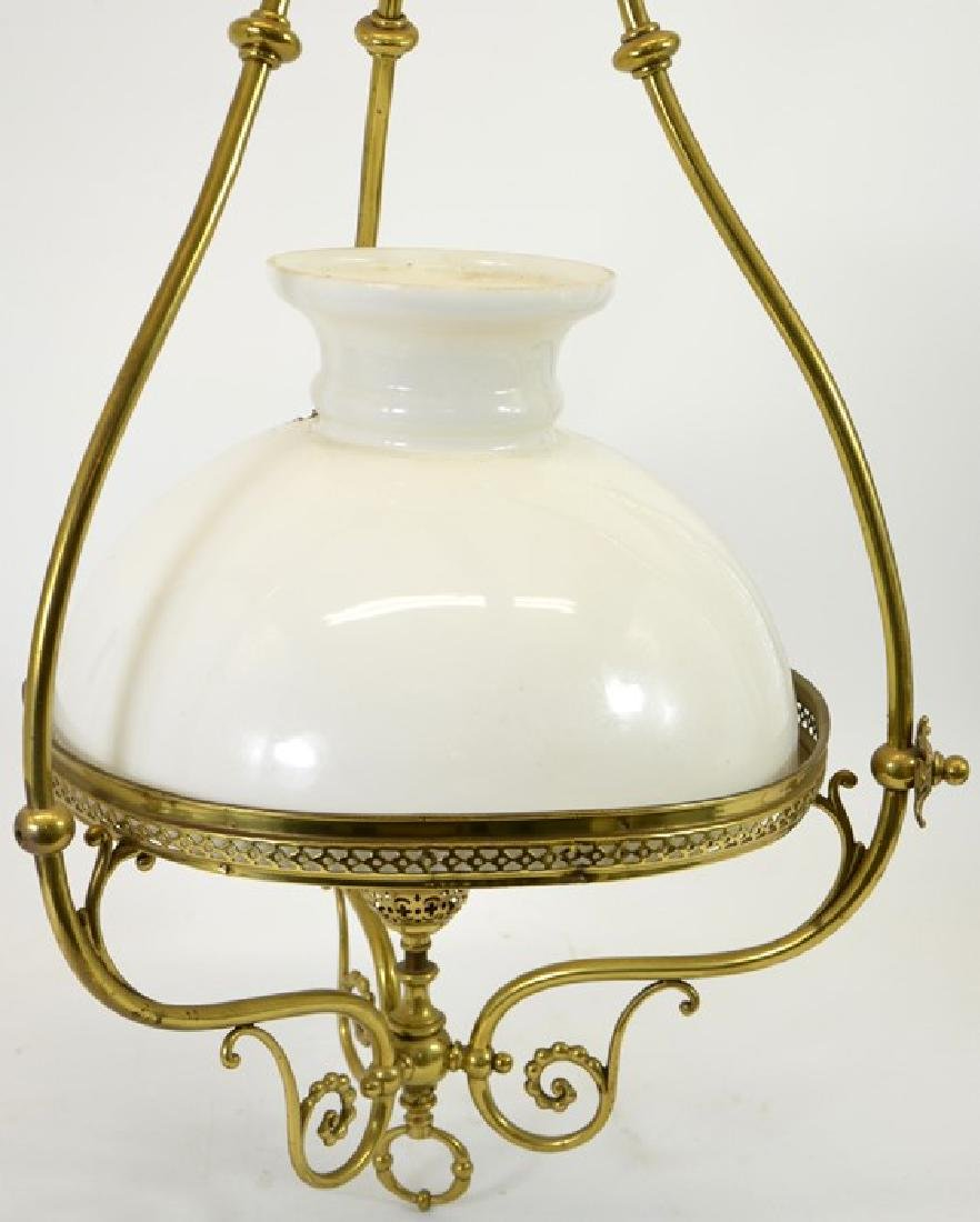 A large Arts and Crafts brass pendant light fitting, - 2