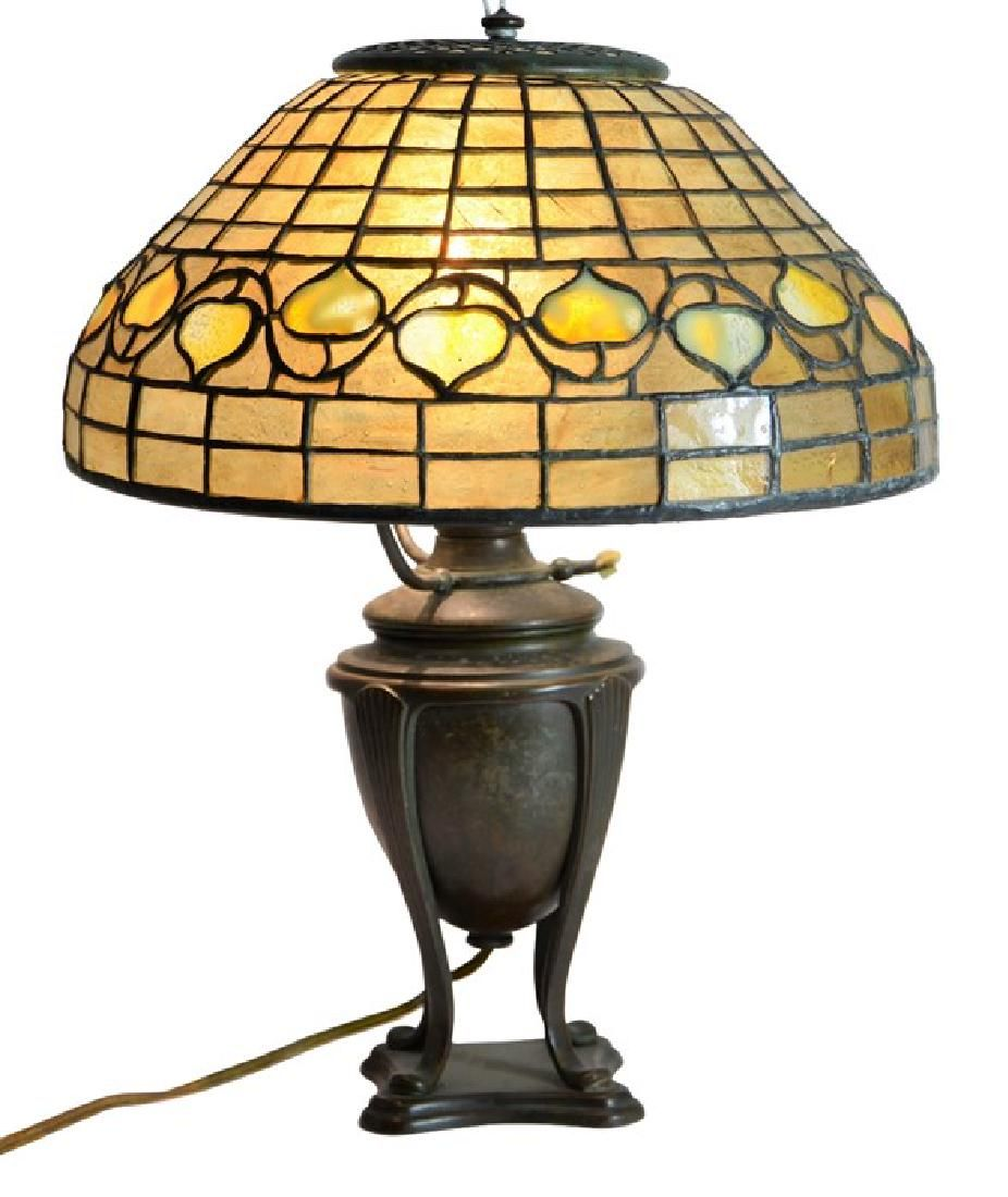 After Tiffany Studios, an Acorn table lamp, leaded