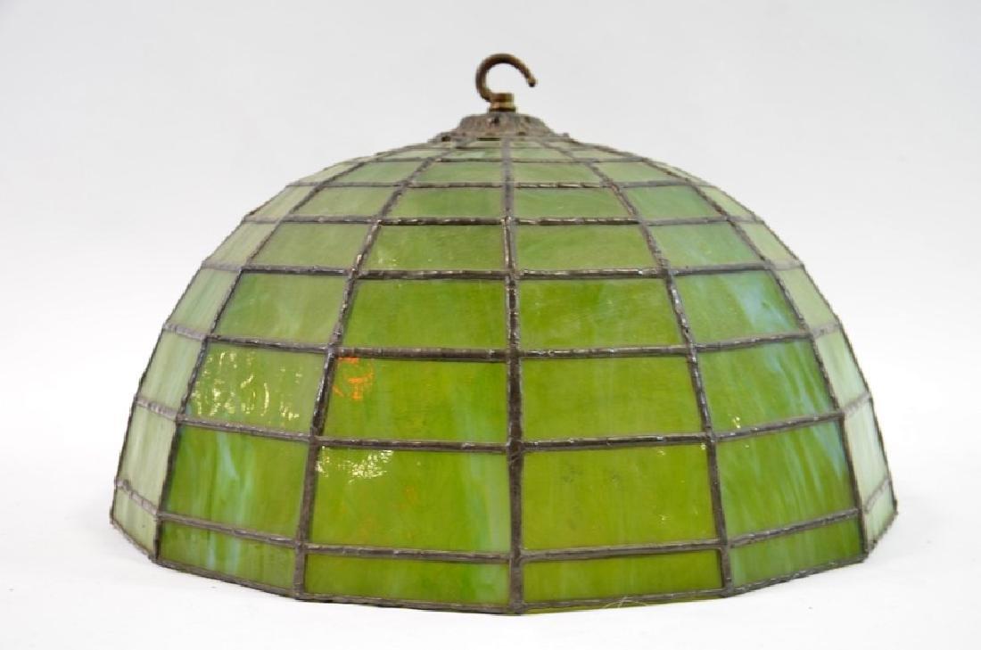 An American leaded glass pendant light shade, circa