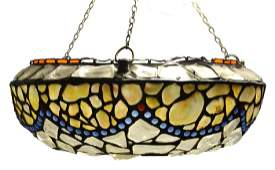 An early 20th century leaded glass and mother of pearl