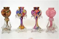 Four Bohemian Franz Welz tri-lobed heart vases, cased