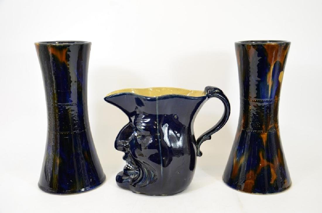 A majolica glazed stoneware character jug of Mr Punch, - 2