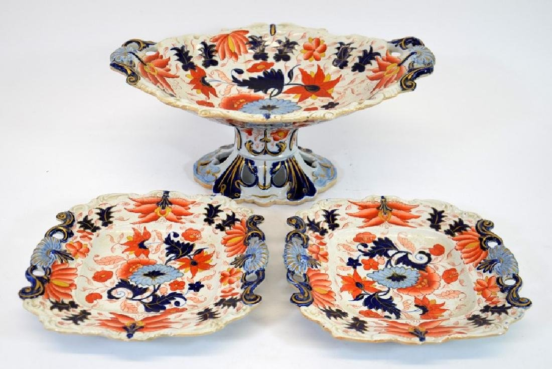 A Masons Ironstone pedestal comport and pair of serving