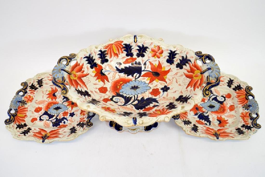 A Masons Ironstone pedestal comport and pair of serving - 2