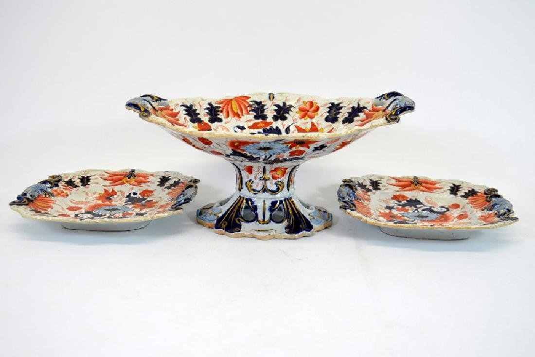 A Masons Ironstone pedestal comport and pair of serving - 3