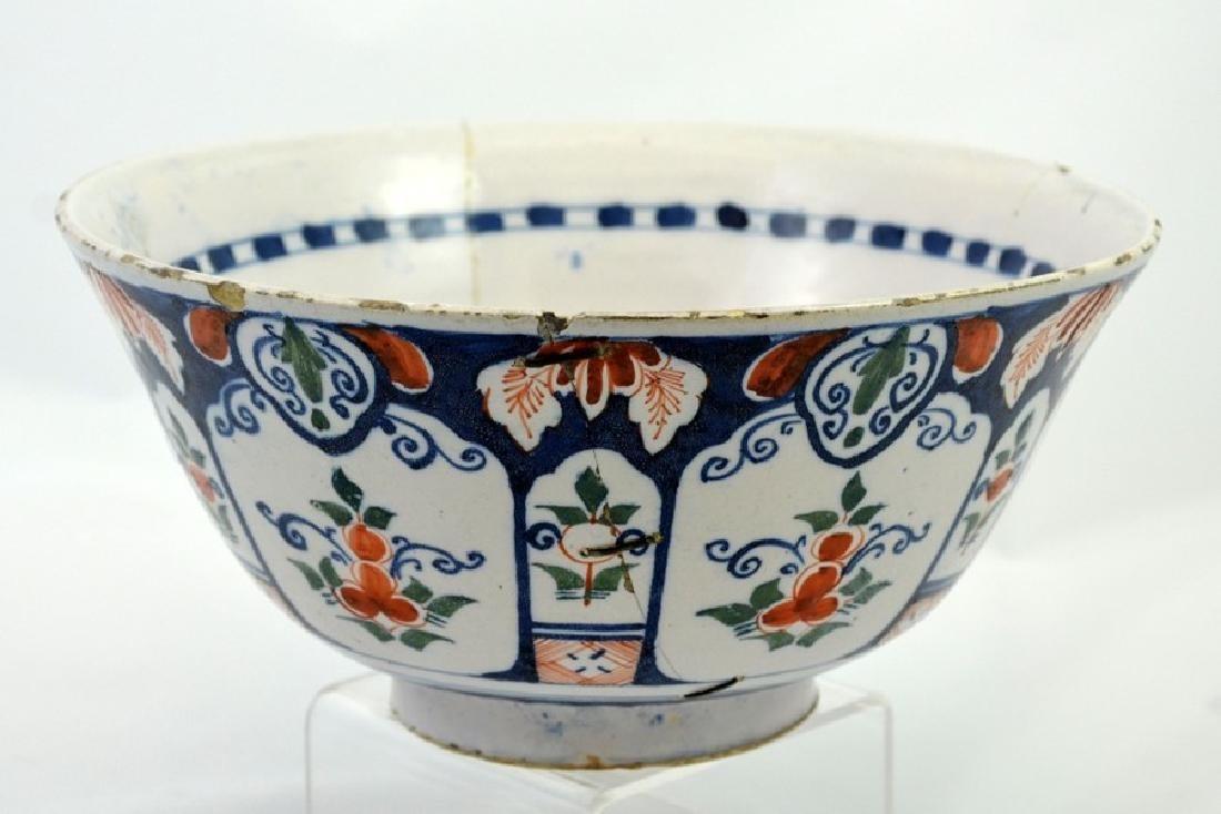 An English delft steep sided polychrome punch bowl, - 2
