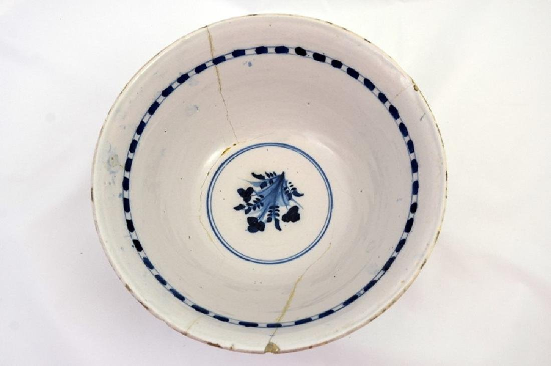 An English delft steep sided polychrome punch bowl, - 3