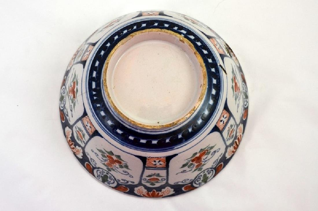 An English delft steep sided polychrome punch bowl, - 4