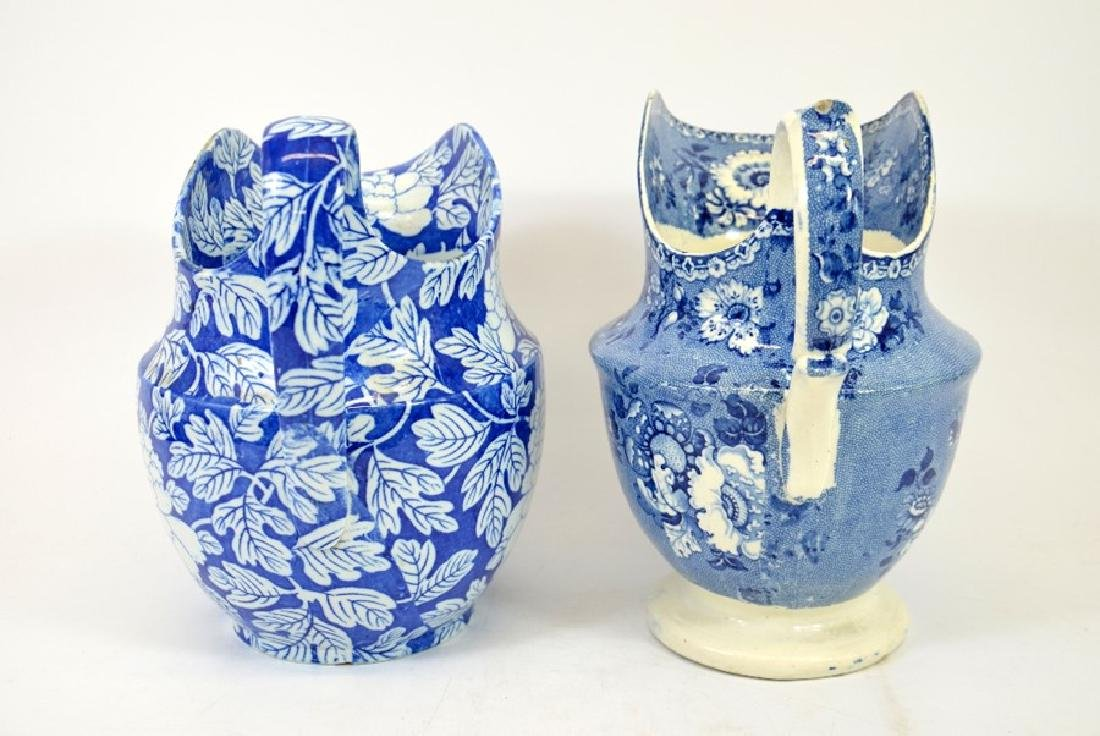 Two Staffordshire blue and white transfer printed jugs, - 4