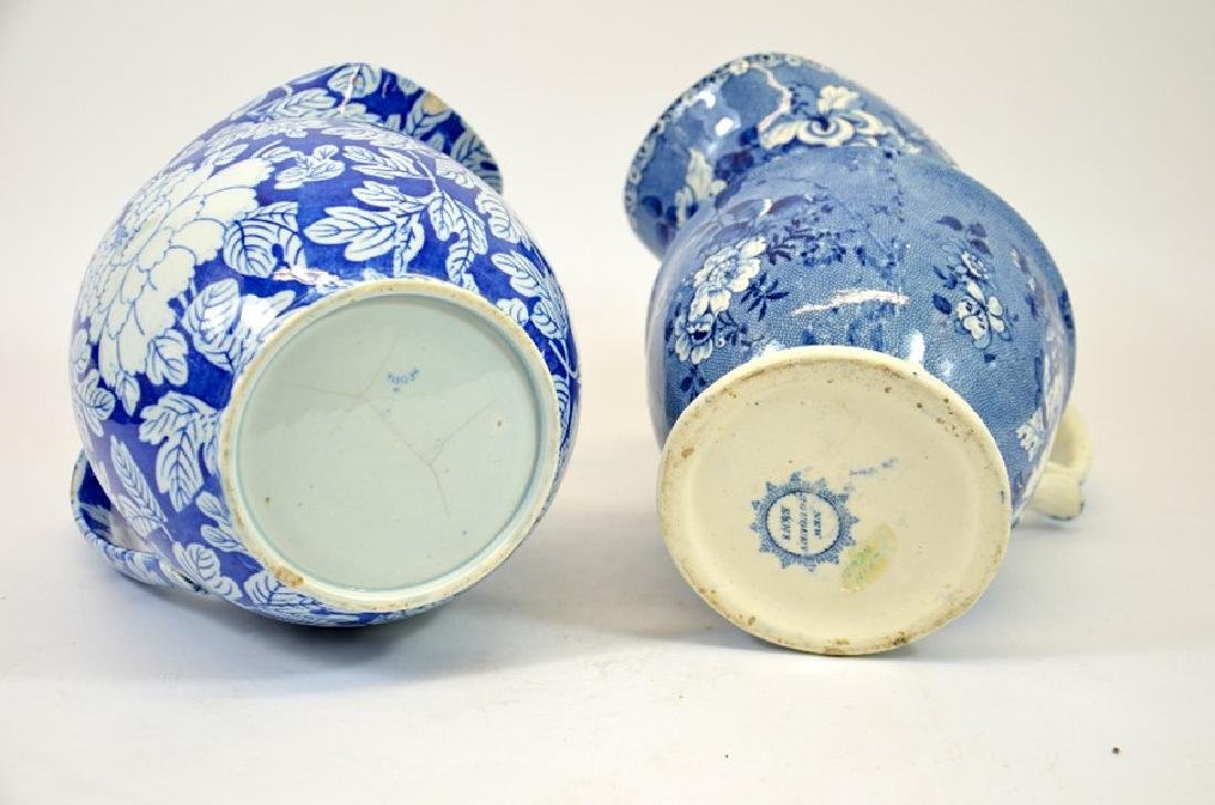 Two Staffordshire blue and white transfer printed jugs, - 5