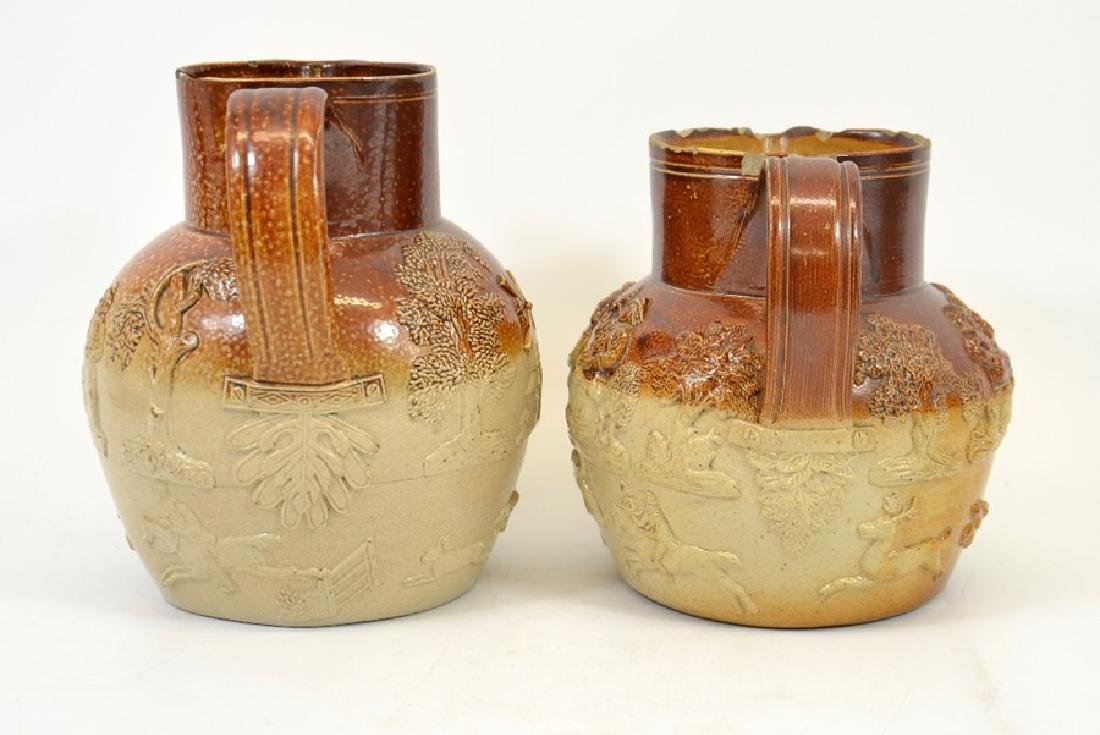 Two 19th century salt glazed stoneware hunting jugs, - 2