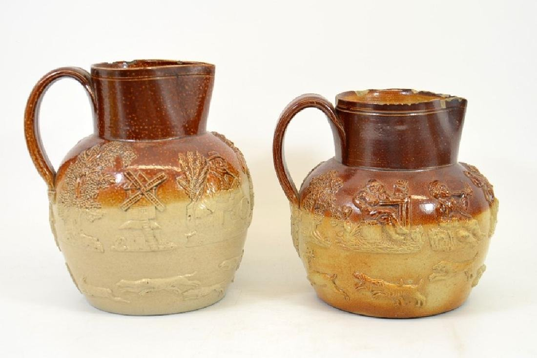 Two 19th century salt glazed stoneware hunting jugs, - 3